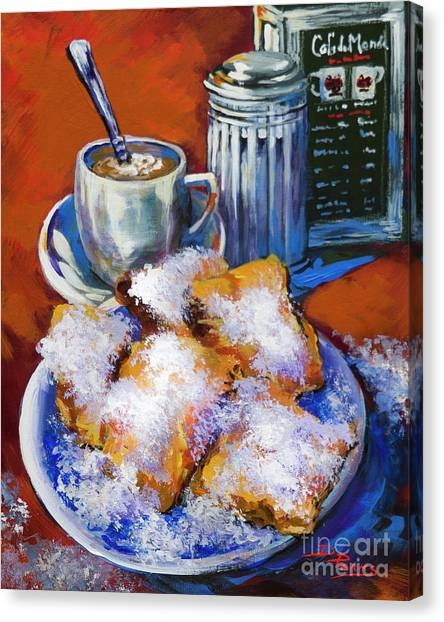 Breakfast At Cafe Du Monde Canvas Print