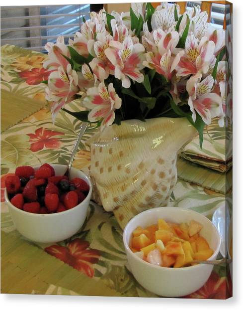 Honeydews Canvas Print - Breakfast At Mary's by Kelly Mezzapelle