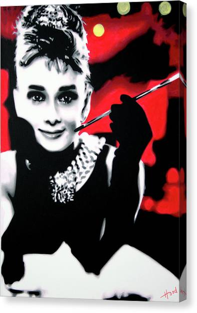 Audrey Hepburn Canvas Print - Breakfast At Tiffany's by Hood alias Ludzska