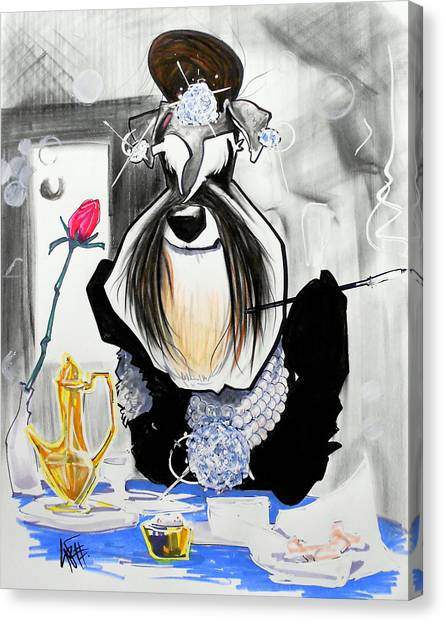 Schnauzers Canvas Print - Breakfast At Tiffany's Schnauzer Caricature by John LaFree