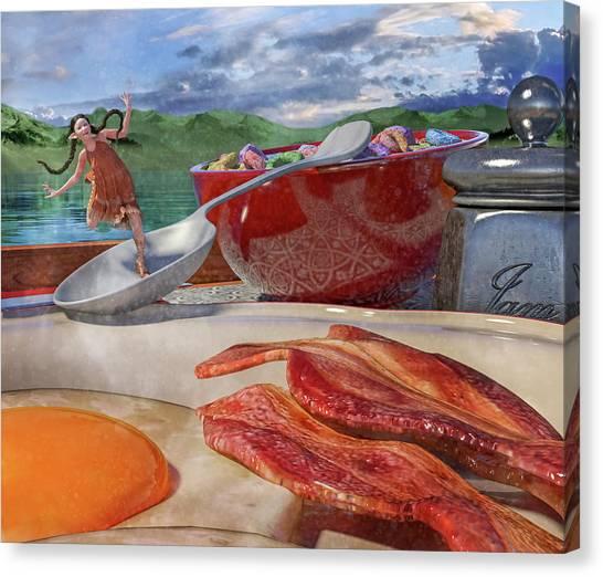 Ham Canvas Print - Breakfast Beeline To Bacon by Betsy Knapp