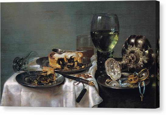 Half Life Canvas Print - Breakfast Table With Blackberry Pie by Willem Claeszoon Heda