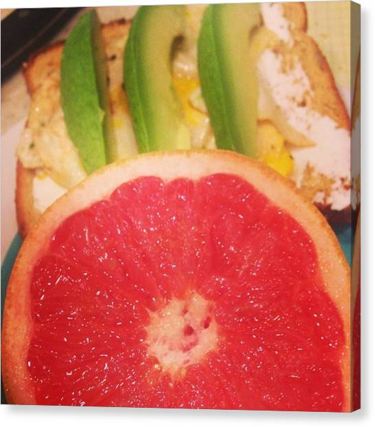 Grapefruits Canvas Print - Breakfast Time ! Half A Grapefruit With by Stephanie Johnson