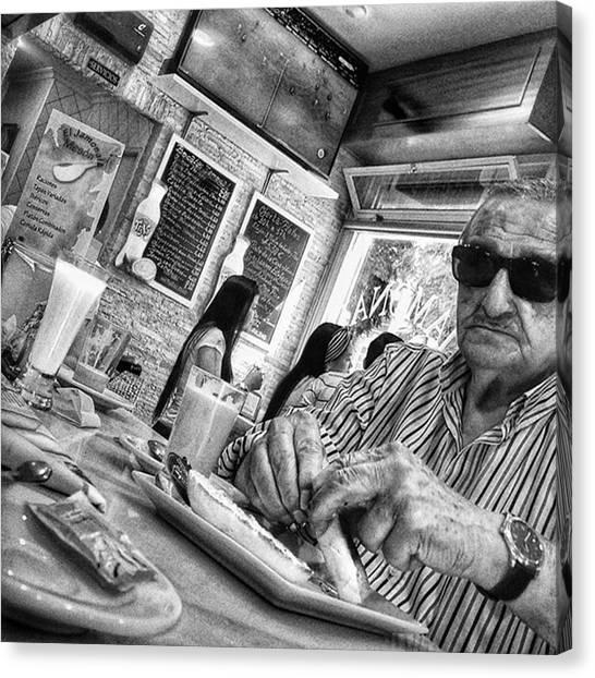 Bar Canvas Print - Breakfast Time  #man #eat #food #bar by Rafa Rivas