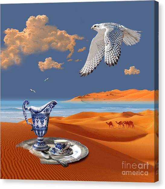 Canvas Print featuring the digital art Breakfast With White Falcon by Alexa Szlavics