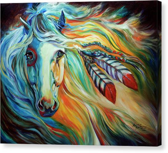 Canvas print featuring the painting breaking dawn indian war horse by marcia baldwin