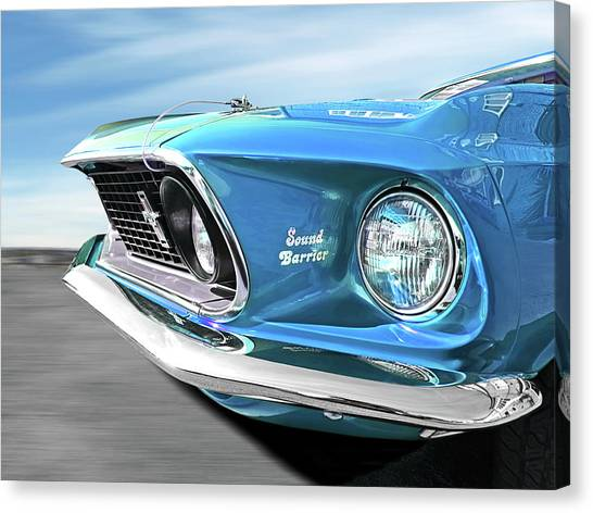 Breaking Sound Barrier Canvas Print - Breaking The Sound Barrier In Sky Blue - Mach 1 Cobra Jet Mustang 1969  by Gill Billington