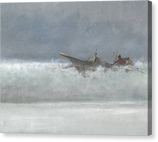 Canoe Canvas Print - Breaking The Surf  Sri Lanka by Lincoln Seligman