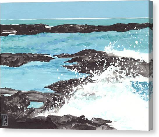 Breaking Wave On Lava Rock Canvas Print