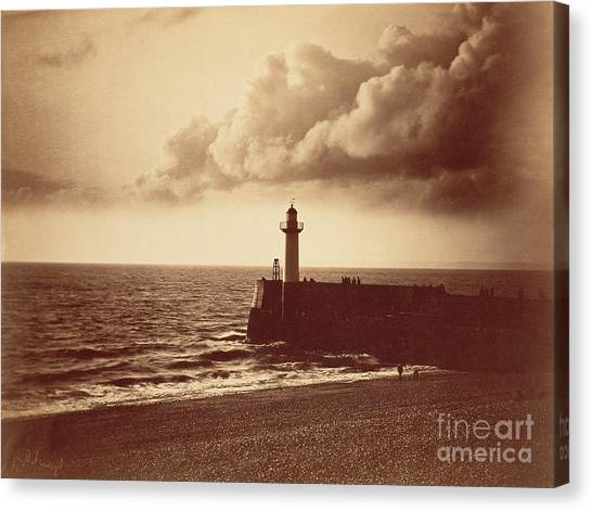 Shingles Canvas Print - Breakwater At Sete by Gustave Le Gray