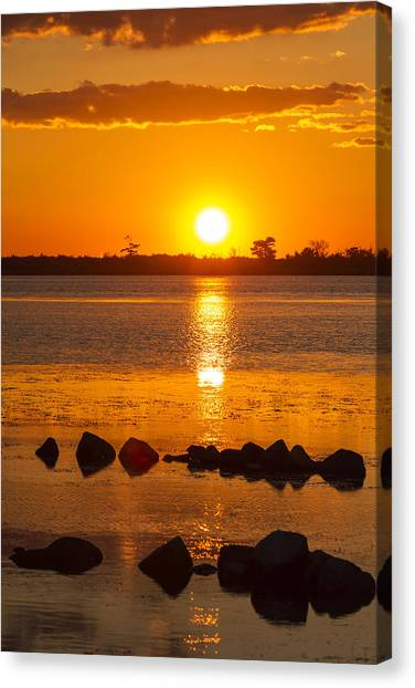 Breakwater Sunset Canvas Print
