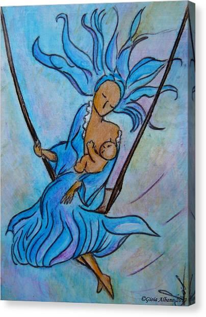Breastfeeding Everywhere Breastfeeding On A Swing Canvas Print