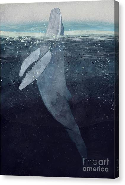 Blue Whales Canvas Print - Breathe by Bri Buckley