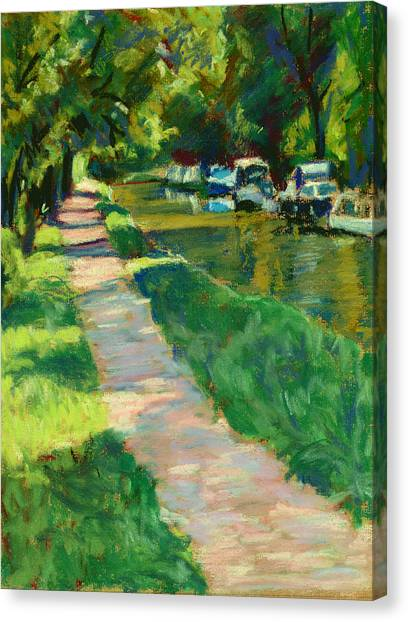 Brecon And Monmouth Canal At Goytre Wharf Canvas Print by Judy Adamson