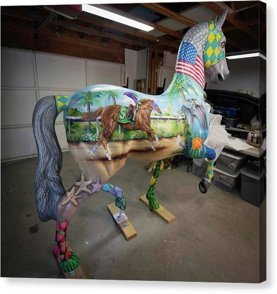 Breeders Cup Fiberglass Horse Right Back Canvas Print