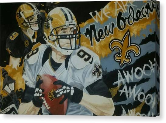 Drew Brees Canvas Print - Brees by Jason Turner