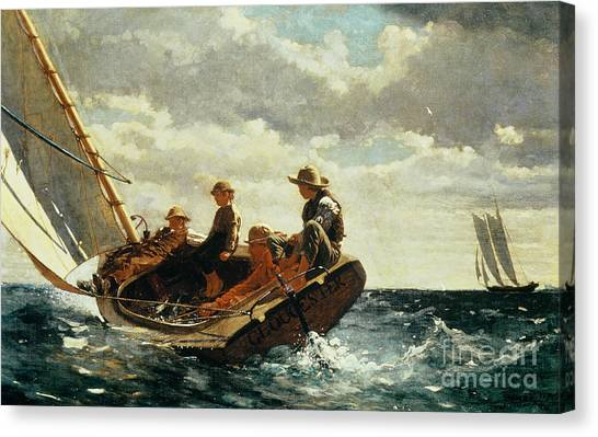 Marinas Canvas Print - Breezing Up by Winslow Homer