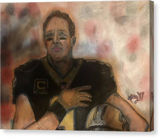 Drew Brees Canvas Print - Breezy by Lauren Lottinger