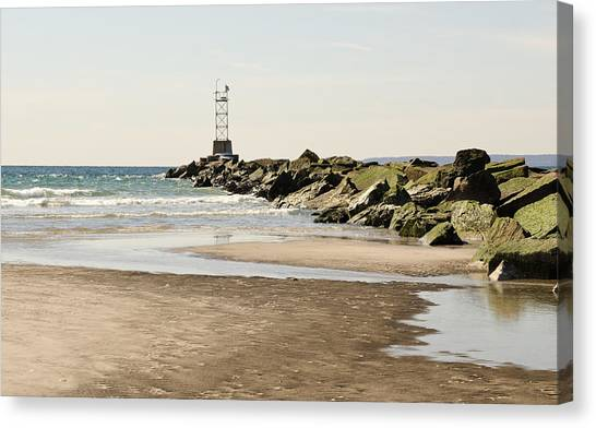 Breezy Point Jetty With Pools Canvas Print