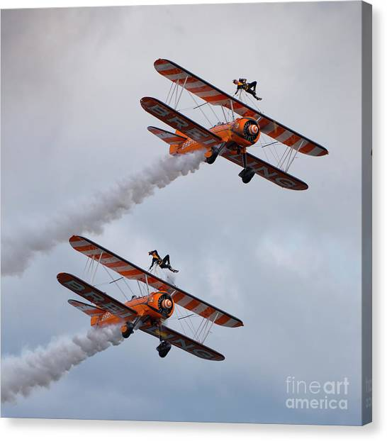 Biplane Canvas Print - Breitling Wing Walkers by Smart Aviation