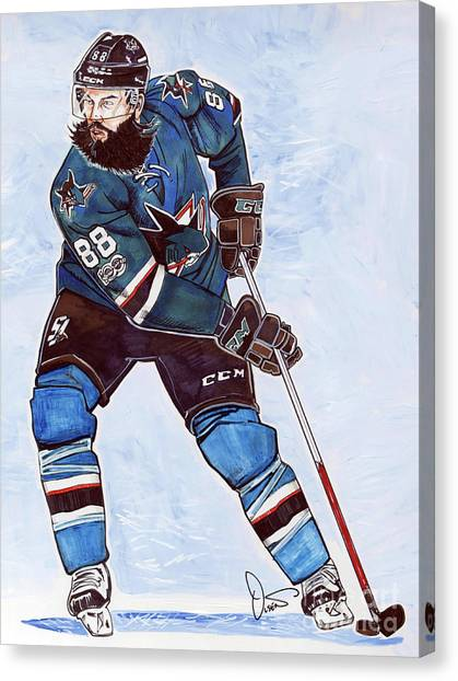San Jose Sharks Canvas Print - Brent Burns by Dave Olsen