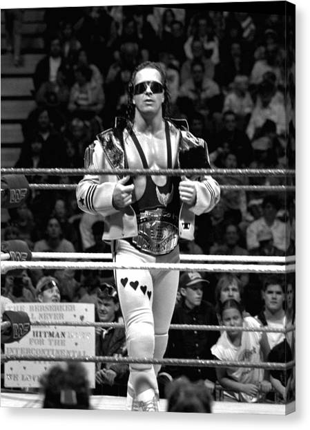 Wwe Canvas Print - Bret Hart Intercontinental Champion by Bill Cubitt