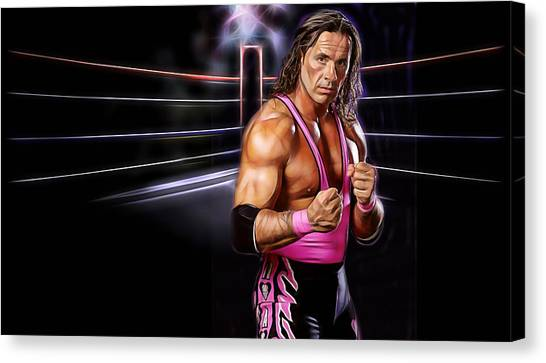 Bret Hart Canvas Print - Bret Hart Wrestling Collection by Marvin Blaine