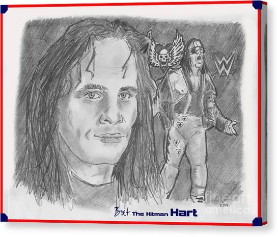 Bret Hart Canvas Print - Bret The Hitman Hart by Chris  DelVecchio