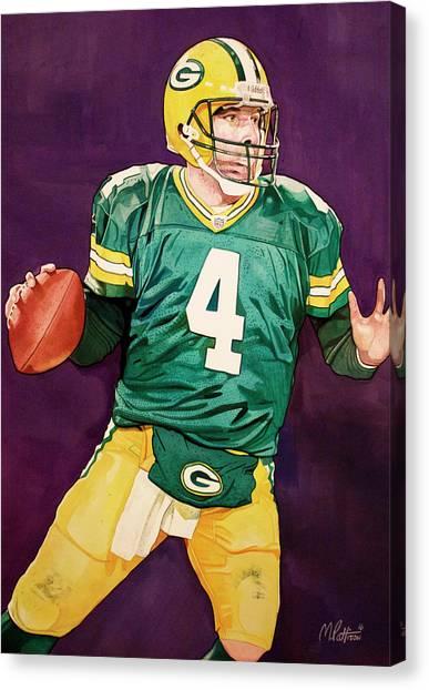 Brett Favre Canvas Print - Brett Favre Green Bay Packers In Purple by Michael Pattison