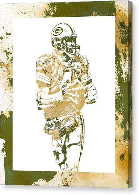 Brett Favre Canvas Print - Brett Favre Green Bay Packers Water Color Art 3 by Joe Hamilton