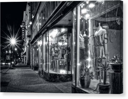 Brewery And Boutique In Black And White Canvas Print