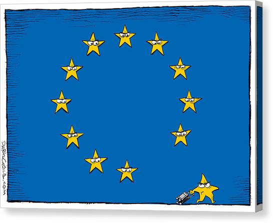 Canvas Print featuring the drawing Brexit Eu Flag  by Daryl Cagle