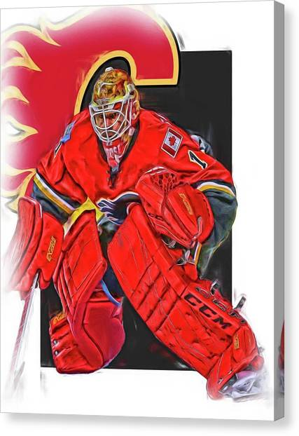Calgary Flames Canvas Print - Brian Elliott Calgary Flames Oil Art by Joe Hamilton