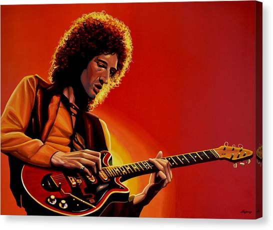 Queens Canvas Print - Brian May Of Queen Painting by Paul Meijering
