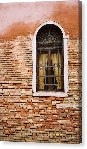 Brick Window Canvas Print by Kathy Schumann