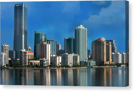 Miami Skyline Canvas Print - Brickell Skyline 2 by Bibi Rojas