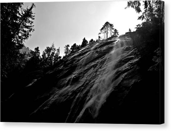 Bridal Veil Falls In Black And White Canvas Print