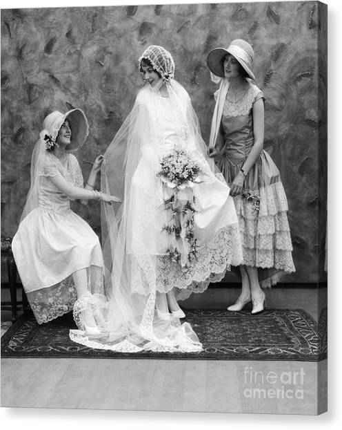 Wedding Bouquet Canvas Print - Bride And Bridesmaids, C.1900-10s by ClassicStock