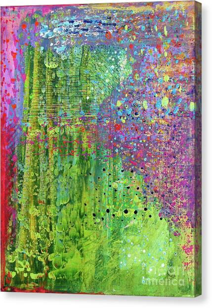 Abstract Green And Pink Canvas Print