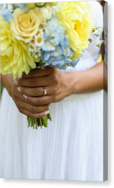 Wedding Bouquet Canvas Print - Brides Wedding Ring by Gillham Studios
