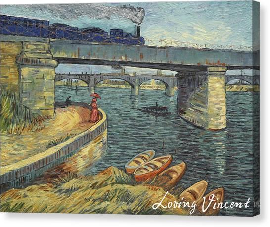 Vincent Van Gogh Canvas Print - Bridge Across The Seine At Asnieres by Anna Kluza