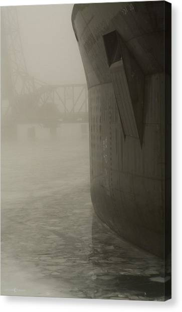 Bridge And Barge Canvas Print