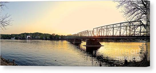 Bridge And New Hope At Sunset Canvas Print