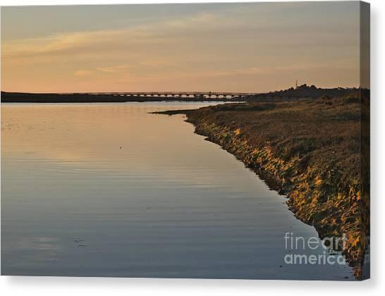 Bridge And Ria At Sunset In Quinta Do Lago Canvas Print