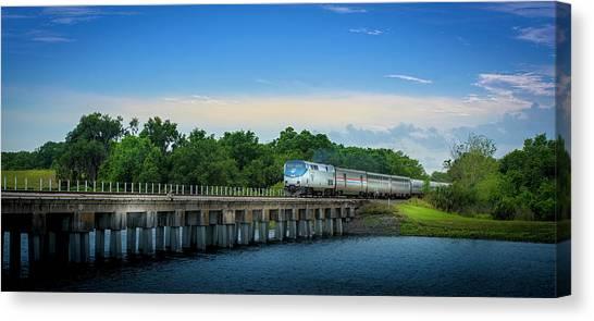 Amtrak Canvas Print - Bridge Crossing by Marvin Spates