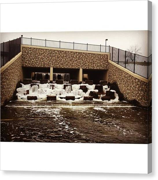 Bass Fishing Canvas Print - The Dam by Mnwx Watcher