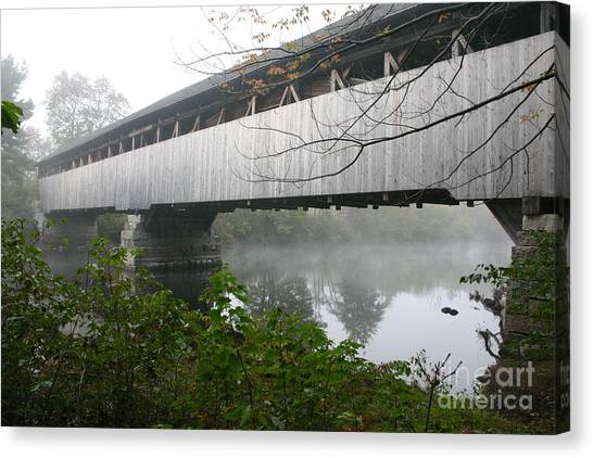 Bridge In The Fog Canvas Print