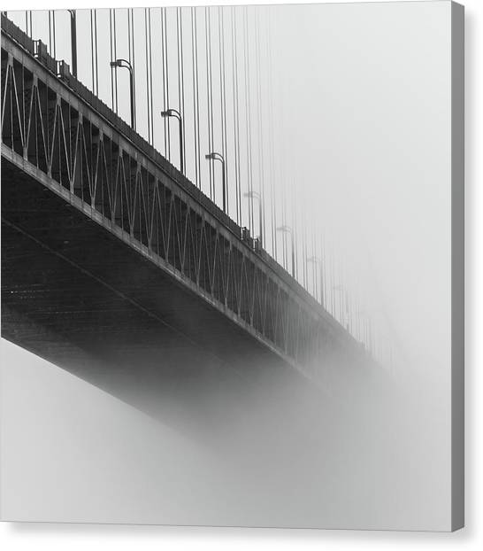 Canvas Print featuring the photograph Bridge In The Fog by Stephen Holst