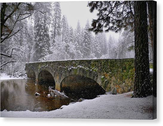 Bridge Over The Merced Canvas Print by Frank Remar