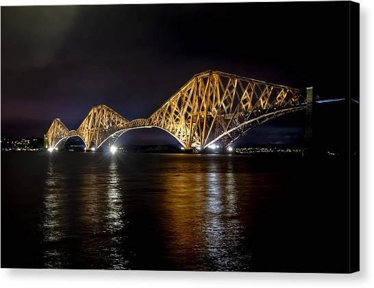 Bridge Over Water Lights. Canvas Print